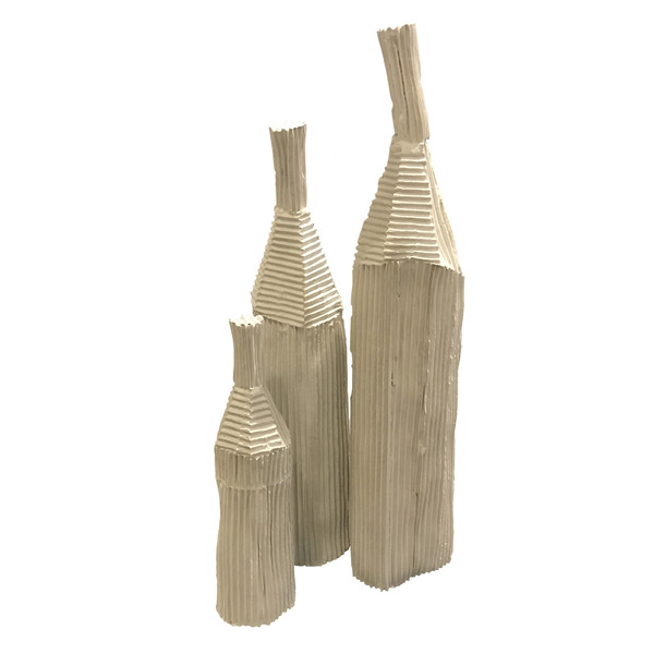 Contemporary Italian Ceramic Corrugated Small Vase