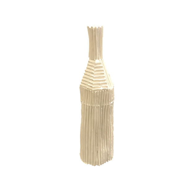 Contemporary Italian Porcelain Corrugated Small Vase