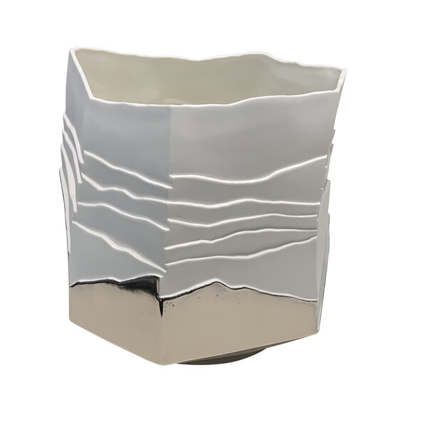 Contemporary Italian Porcelain Ribbed Vase