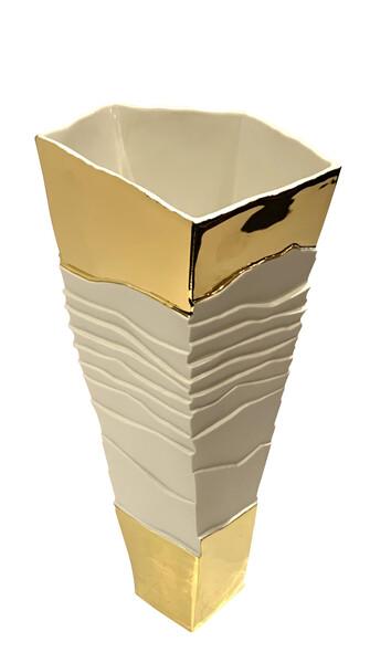 Contemporary Italian Porcelain Ribbed Cubist Design Vase  with 22K Gold Trim