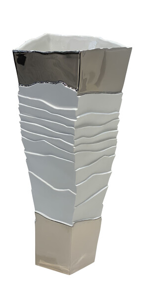 Contemporary Italian Porcelain Ribbed Vase