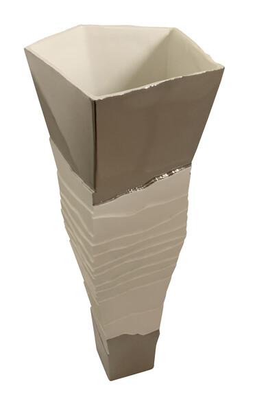 Contemporary Italian Tall Porcelain Ribbed Vase