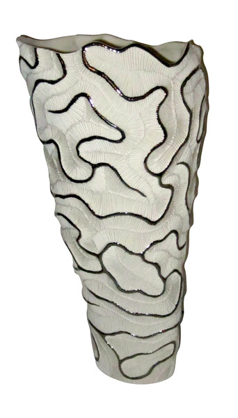 Contemporary Italian Tall  White Porcelain and Platinum Trim Vase