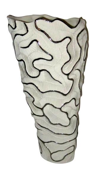 Contemporary Italian White Porcelain and Platinum Trim Vase