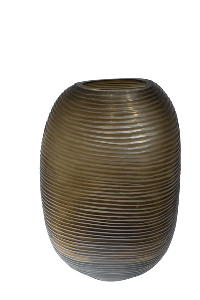 Contemporary Romanian Large Edged Glass Vase