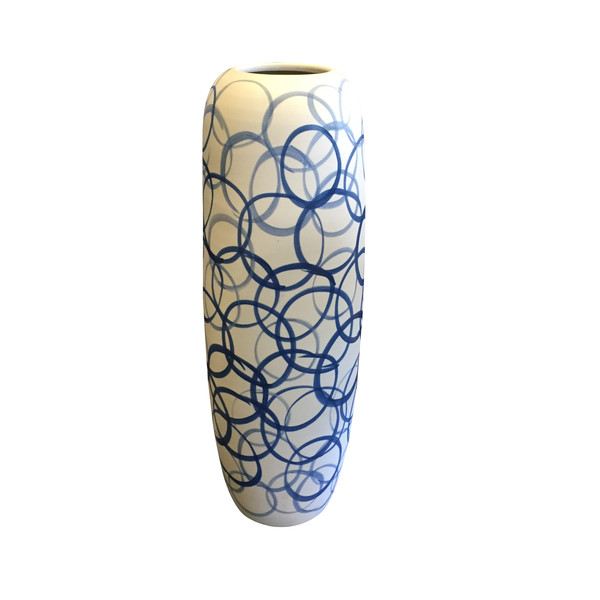 Contemporary Tall White Vase with Blue Indigo Circles