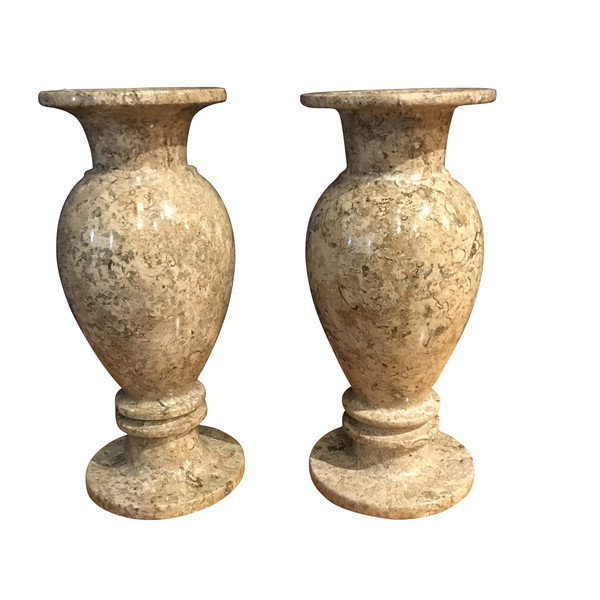 Contemporary Pair Travertine Vases