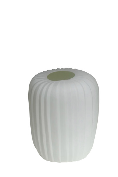 Contemporary Romania White Ribbed Vase