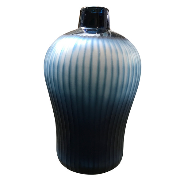 Contemporary Romanian Blue Vertical Ribbed Vase