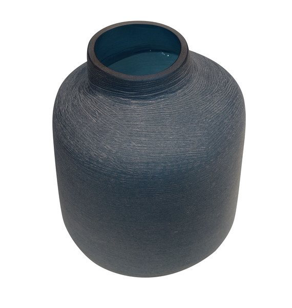 Contemporary Romanian Etched Turquoise Glass Vase