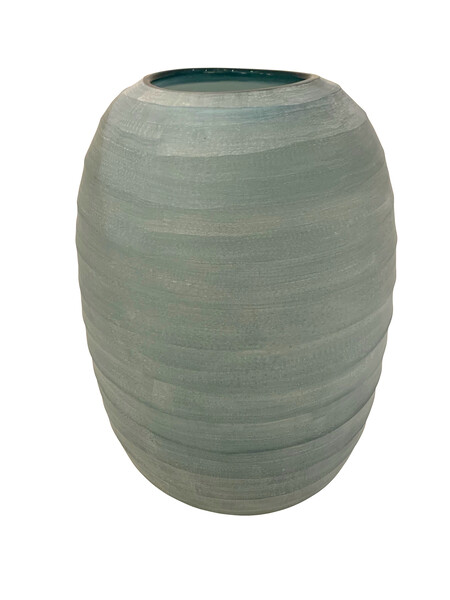 Contemporary Romanian Frosted Blue Glass Vase