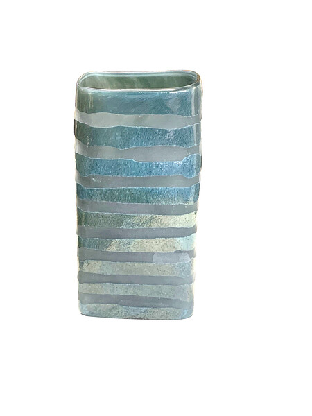 Contemporary Romanian Rectangular Shape Glass Vase