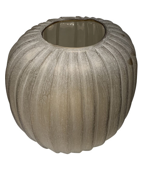 Contemporary Romanian Ribbed Glass Vase
