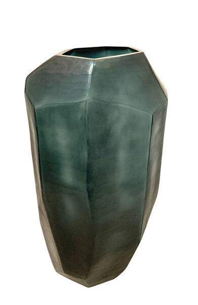 Contemporary Romanian Tall Dark Blue Glass Vase