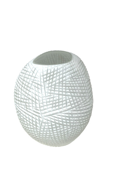 Contemporary Romanian White Etched Vase