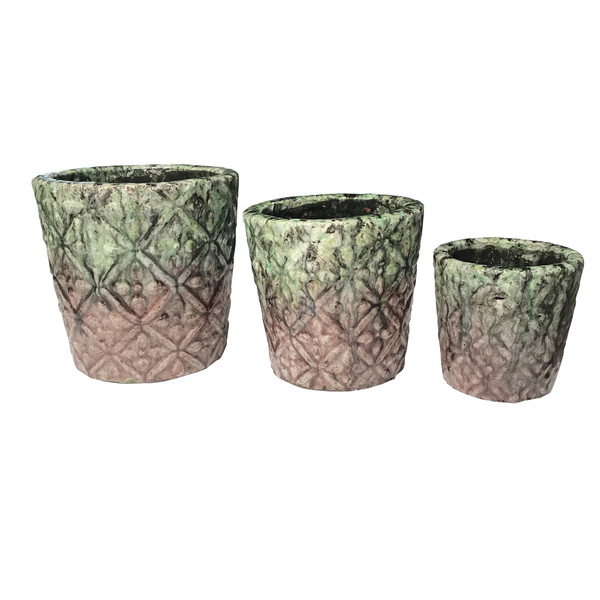 Contemporary Thailand Set Of Three Drip Design Pots