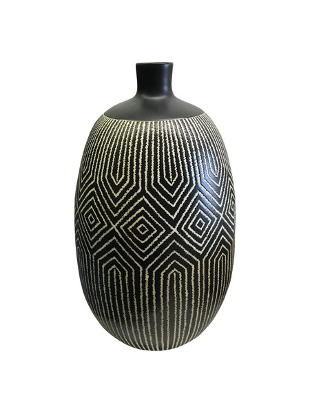 Contemporary Thailand Black and White Vase