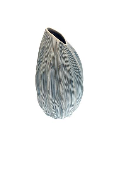 Contemporary Thailand Blue & White Thin Striped Vase