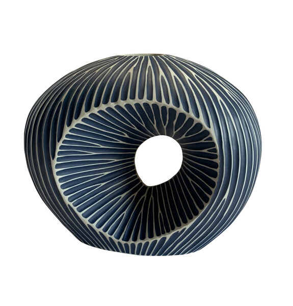 Contemporary Thailand Large Dark Blue and White Striped Vase