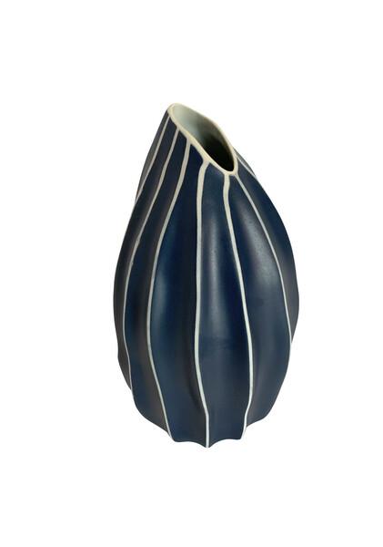 Contemporary  Thailand Dark Blue & White Stripe Vase