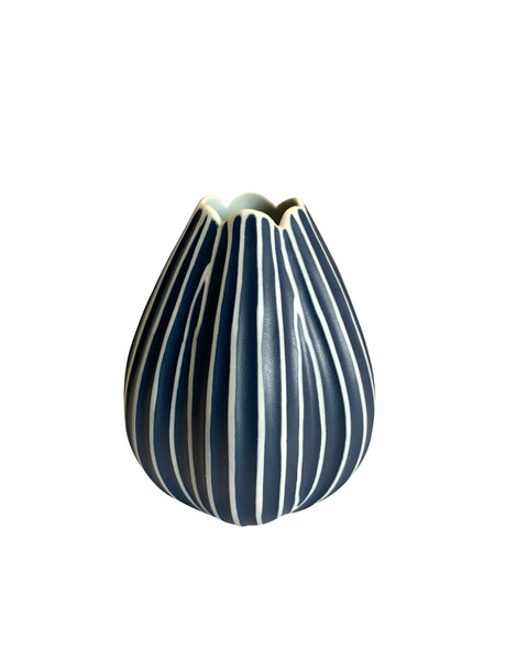 Contemporary Thailand  Dark Blue & White Striped Vase