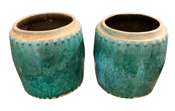 Early 19thc Thailand Turquoise Round Pots
