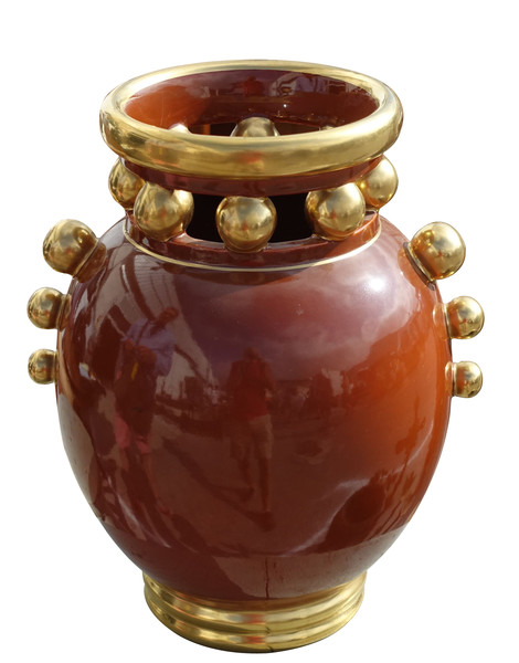 Mid Century French Rust and Gold Vase