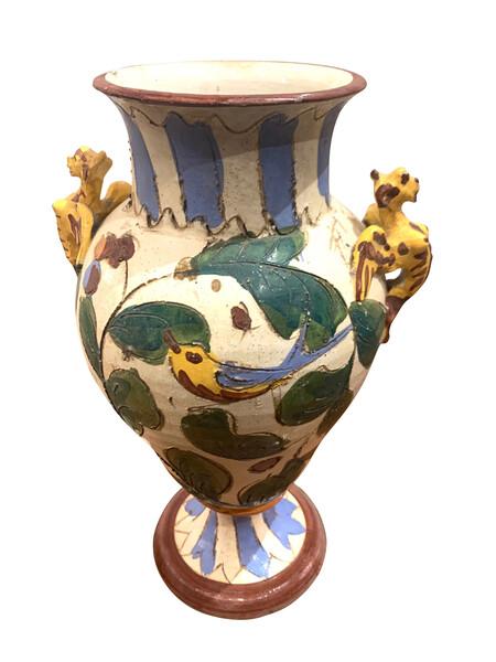 Mid Century Italian Hand Painted Ceramic Vase
