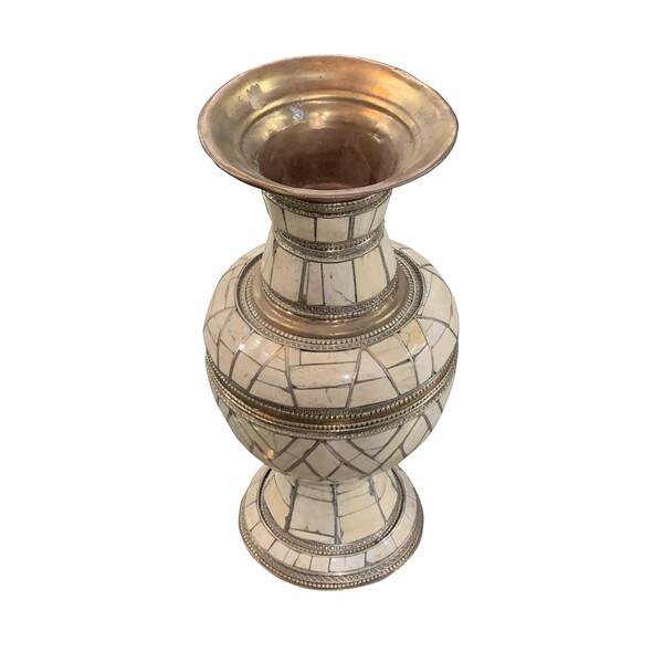 Mid Century Moroccan Bone and Silver Vase