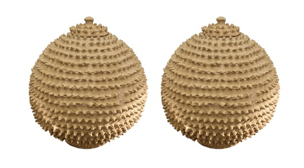 1950's African Pair Textured Lidded Vases