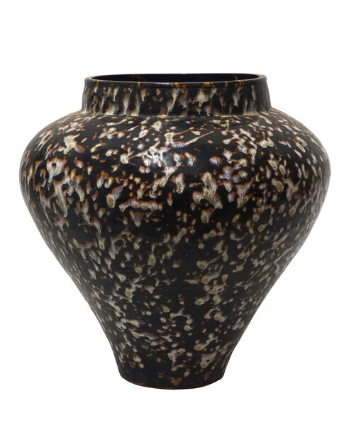 1940's Chinese Brown / White Speckle Glaze Vase