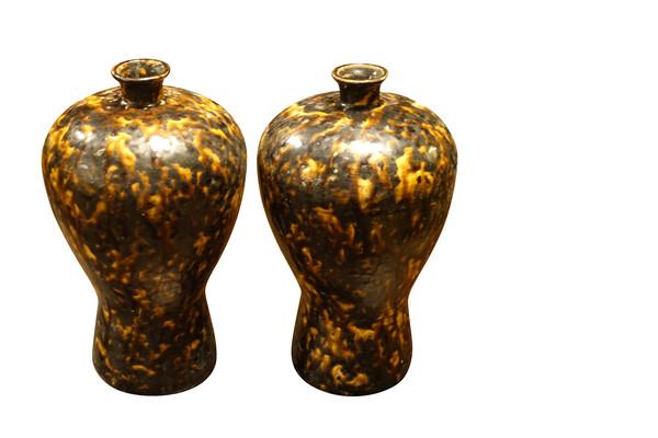 Tortoise Design Pair Vases