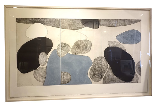 Contemporary French Artist Marielle Guegan XL Triptych