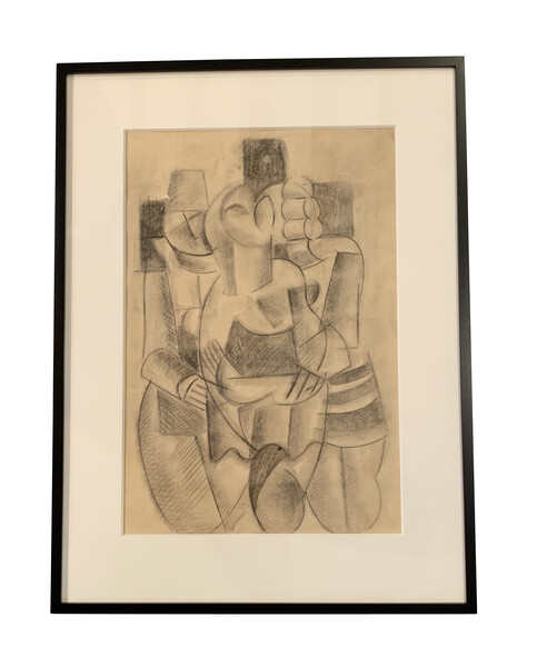 1950's French Charcoal Drawing