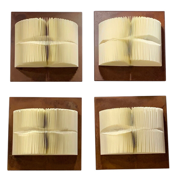 Contemporary Italian Set of Two Folded Books Wall Sculpture