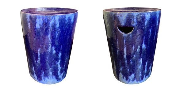 Contemporary Chinese Pair Blue Ceramic Glazed Garden Stools