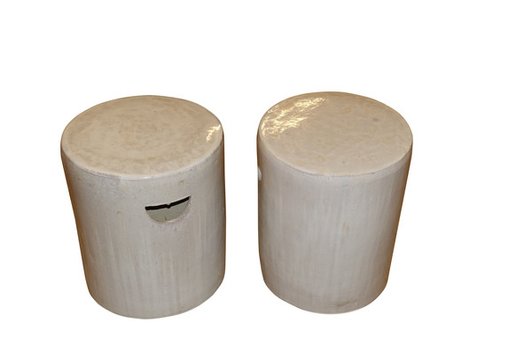 Contemporary Chinese Pair Round Glazed Terra Cotta Stools