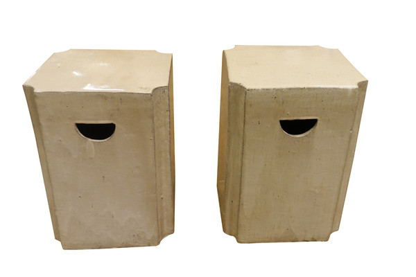 Contemporary Chinese Pair Square Glazed Terra Cotta Stools