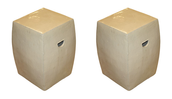 Contemporary Chinese Pair Tapered Glazed Terra Cotta Stools