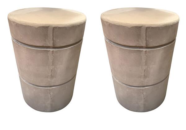 Contemporary Vietnamese Pair Concrete Garden Stools