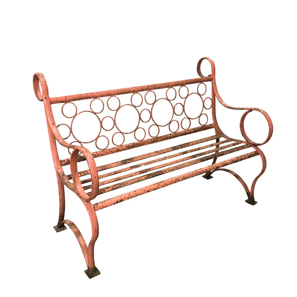 1940's English Orange Wrought Iron Bench