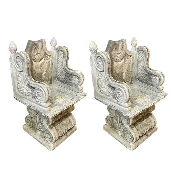 1920's Italian Pair Stone Chairs