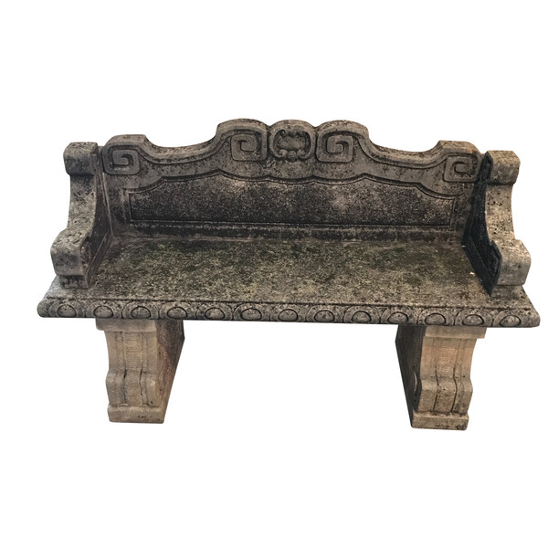 1920's Italian  Vicenza Stone Bench WIth Back