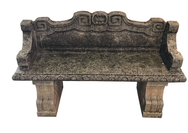 1920's Italian Pair Vicenza Stone Benches WIth Back