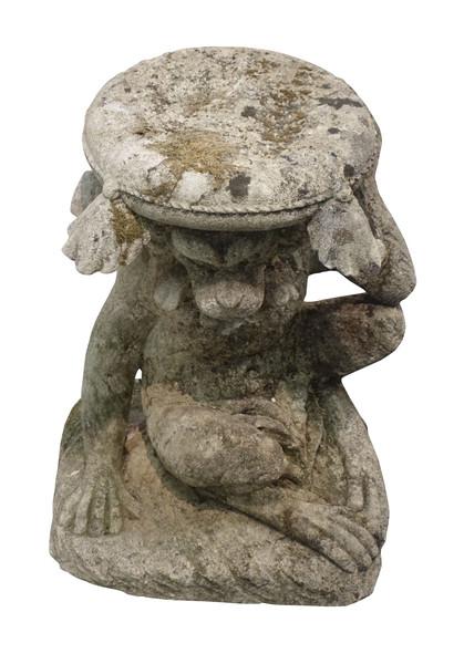 1940's Italian Vicenza Stone Monkey Base Side Table