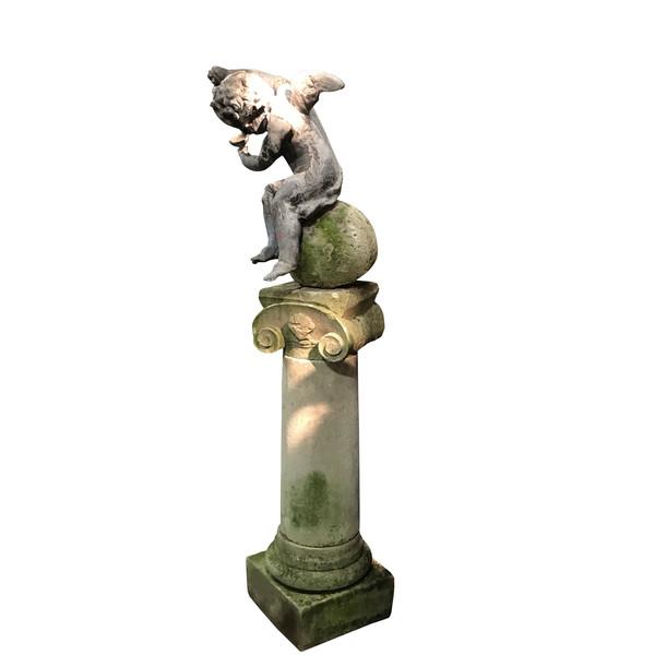 1820c English Regency Leaded Cherub on Limestone Column