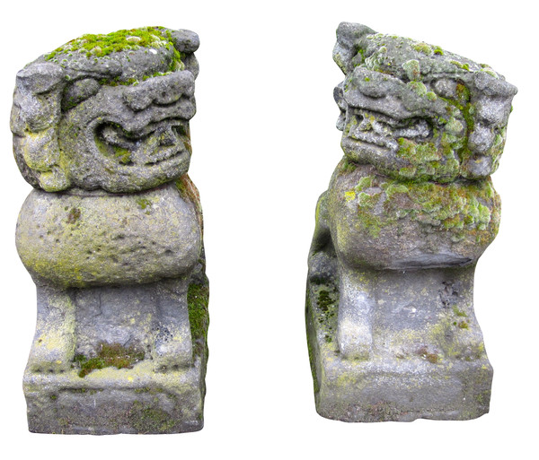 19thc Chinese Pair Carved Stone Foo Dogs