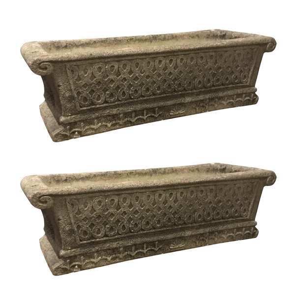1900c English Pair Rectangular Shaped Cotswald Studio Stone Planters
