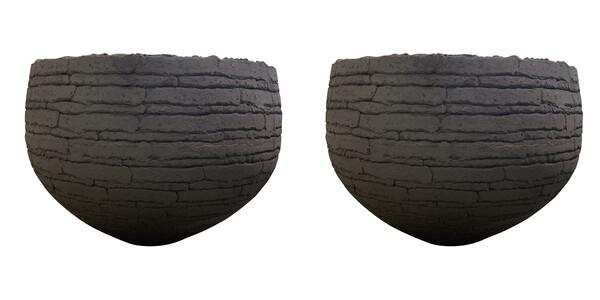 Contemporary Belgian Pair XL Textured Terra Cotta Planters
