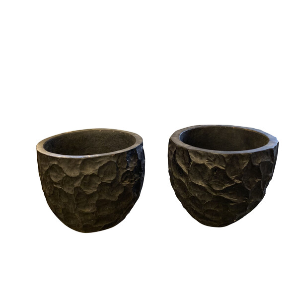 Contemporary Indonesian Pair XL Carved Palm Planters
